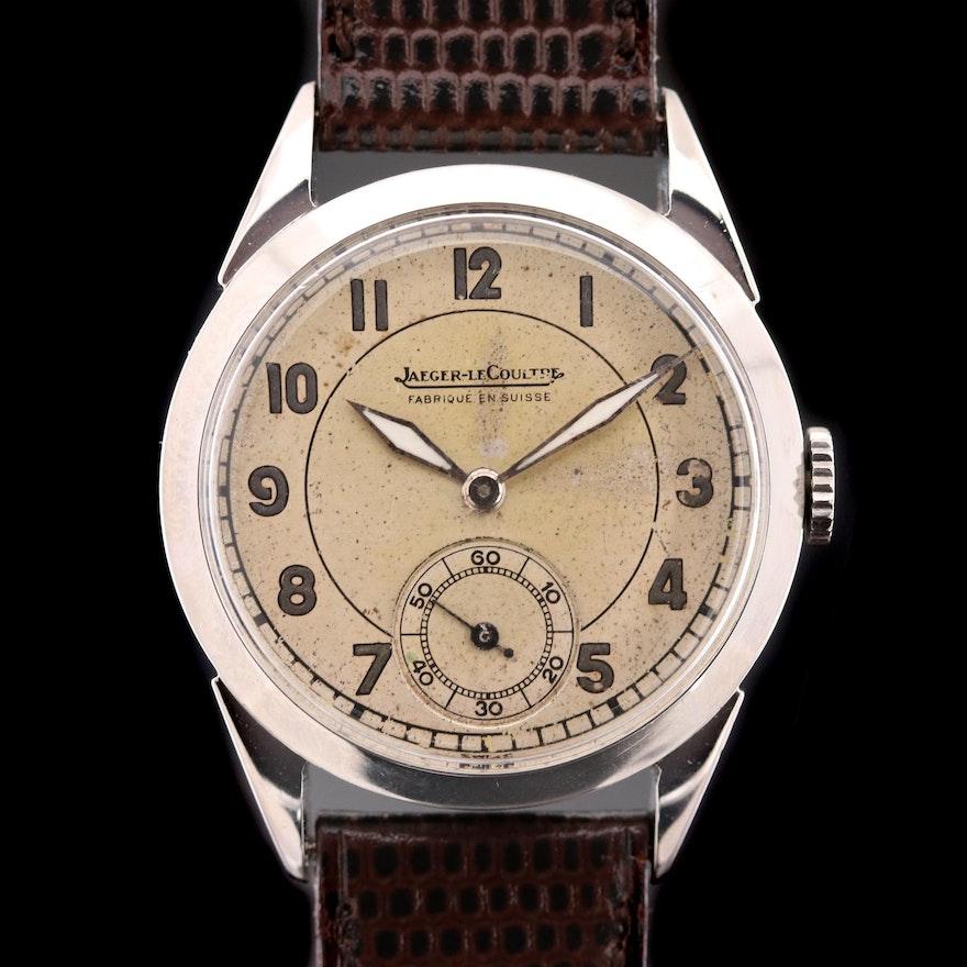 Vintage Jaeger - LeCoultre Stainless Steel Stem Wind Wristwatch