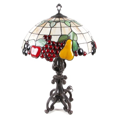 Tiffany Style Stained Glass Fruit Table Lamp