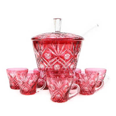 Bohemia Cranberry Cut to Clear Lidded Punch Bowl with Cups