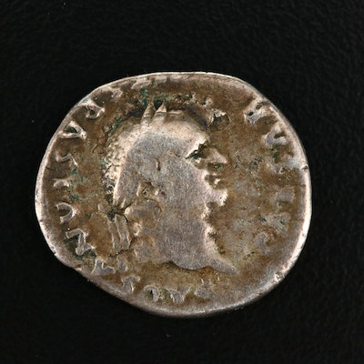 Ancient Roman Imperial AR Denarius of Vespasian, ca. 77 A.D.