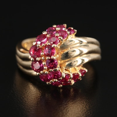 14K Yellow Gold Ruby Crescent Moon Ring