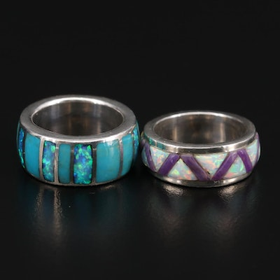 Southwestern Style Sterling Silver Opal and Sugilite Eternity Bands