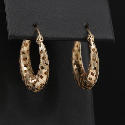 14K Yellow Gold Woven Hoop Earrings