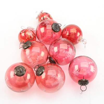 Hand Blown Gilt Cranberry Glass Christmas Ornaments
