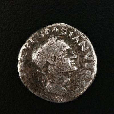 "Ancient Roman AR Denarius Coin of Vespasian, ""Judaea Capta"" Type, ca. 70 A.D."