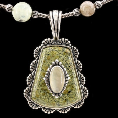Carolyn Pollack for Relios Sterling Silver Prehnite and Jasper Bead Necklace