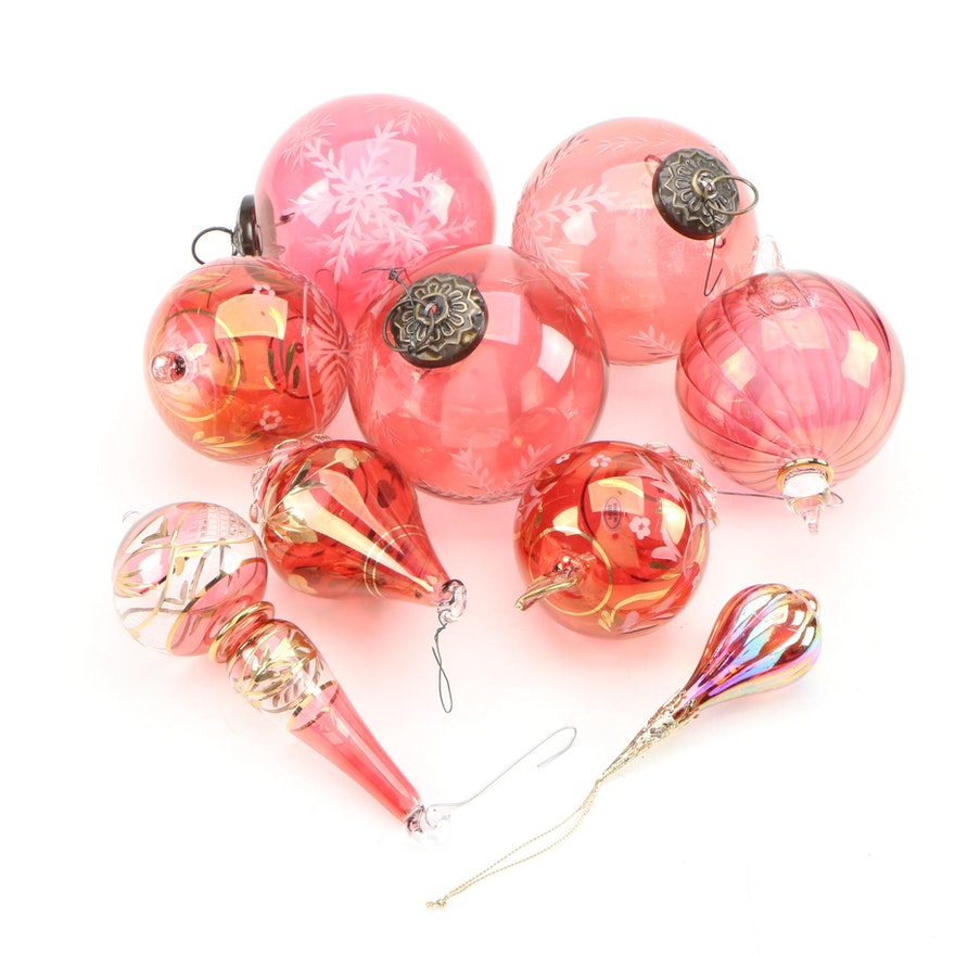 Hand Blown Glass Christmas Gilt, Cranberry Etched Snowflake Motif Ornaments