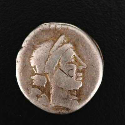 Ancient Roman Republic AR Denarius of Julius Caesar, ca. 46 B.C.