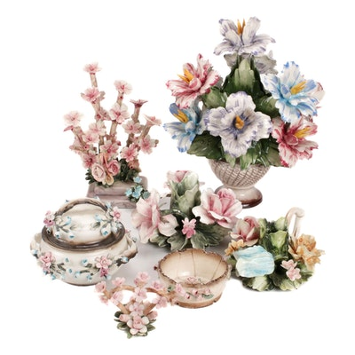 Capodimonte Porcelain Flower Figurines, Bowl and Table Accessories