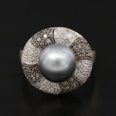 14K Yellow and White Gold Pearl and Diamond Ring