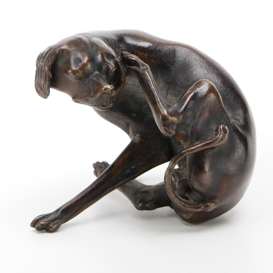 "Metropolitan Museum of Art Replica Bronze ""Sitting Dog Scratching Himself"""