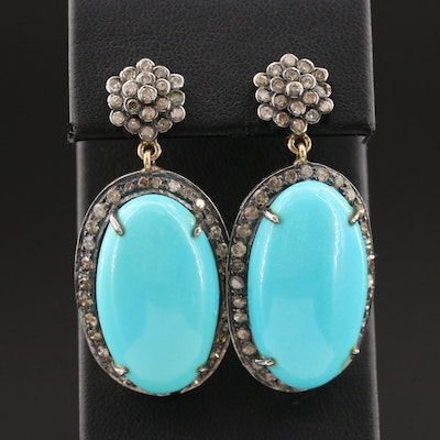 900 Silver Turquoise and 2.12 CTW Diamond Drop Earrings