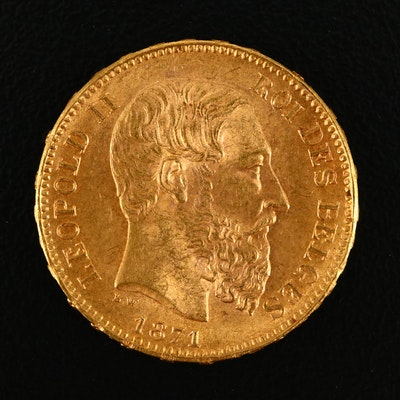 1871 Belgium Twenty Francs Gold Coin