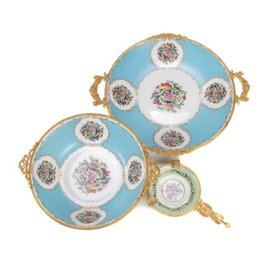 Hand-Painted T. Limoge and Vieux AK Versailles Porcelain Dish, Bowl and Ashtray