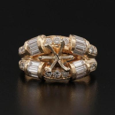 14K Yellow Gold 1.50 CTW Diamond Semi-Mount Ring