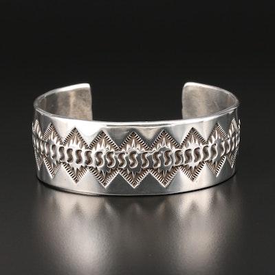 Ken and Mary Bill Navajo Diné Sterling Silver Cuff Bracelet