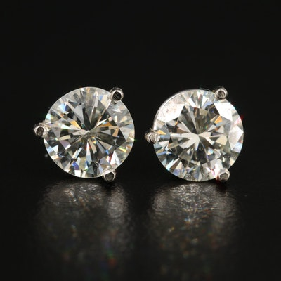 14K White Gold 3.39 CTW Diamond Solitaire Martini Set Earrings with GIA Reports