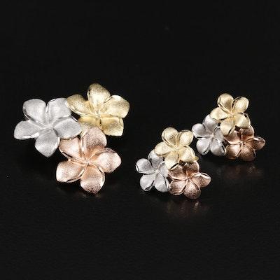 14K Tri-Color Gold Plumeria Pendant and Earring Set