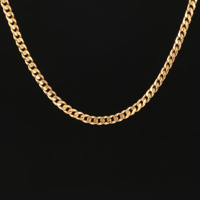 18K Yellow Gold Curb Chain Link Necklace