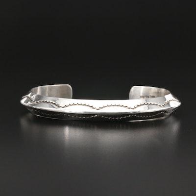 Tahé Navajo Diné Sterling Silver Cuff Bracelet