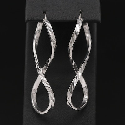 14K White Gold Textured Twist Hoop Earrings