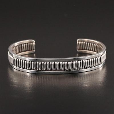 Southwestern Style Sterling Silver Ribbed Cuff Bracelet