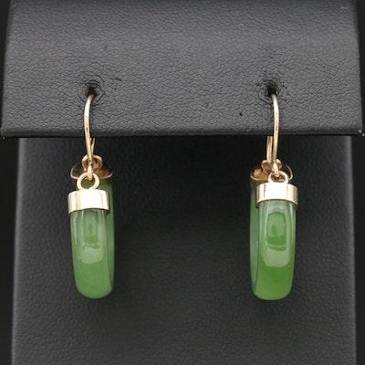 14K White Gold Nephrite Hoop Earrings