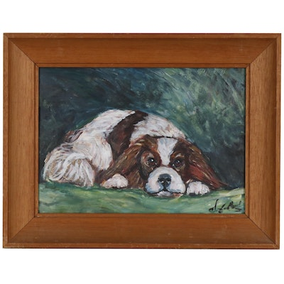 Oil Painting of a Spaniel, Late 20th Century