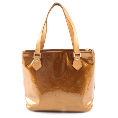 Louis Vuitton Houston Shoulder Tote in Bronze Monogram Vernis and Leather