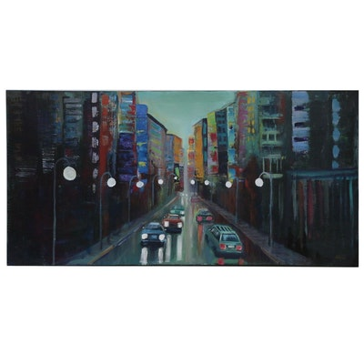 """Thea Mamukelashvili Acrylic Painting """"White Lanterns"""""""