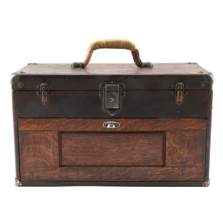 Wooden Three Drawer Machinist Tool Chest, Late 19th/Early 20th Century