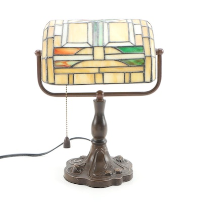 Arts and Crafts Style Stained Glass Library Desk Lamp
