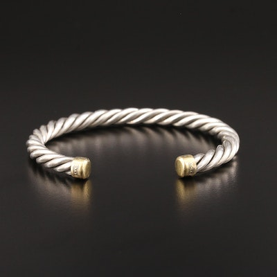 David Yurman Sterling Silver Cable Cuff Bracelet with 18K Gold Accent