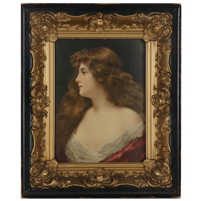 Chromolithograph after Angelo Asti Portrait of Long-haired Woman