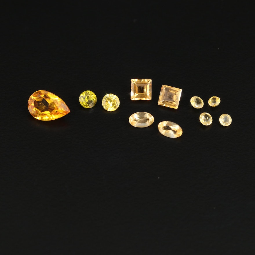 Sapphire, Citrine and Cubic Zirconia Gemstones Including Synthetic Sapphire