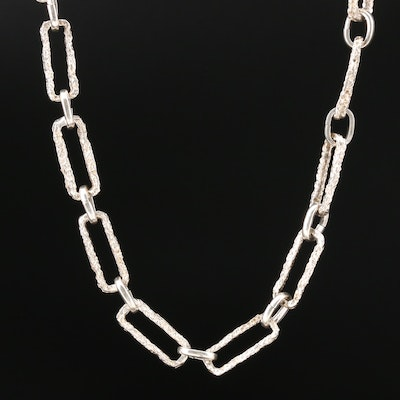 Sterling Silver Textured Ring and Connector Chain Necklace