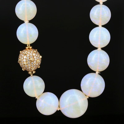 Angela Cummings Graduated Opal Necklace 18K Gold 2.98 CTW Pavé Diamond Clasp