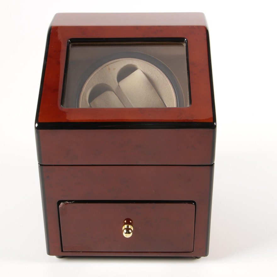 Dual Watch Winder with High Gloss Wood Grain Finish
