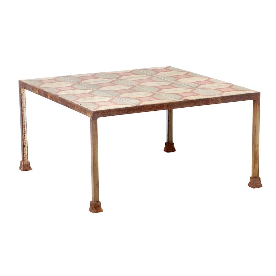 Geometric Tiled Iron Coffee Table, Mid-20th Century