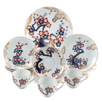 "Japanese ""Gold Imari"" Porcelain Hand Painted Serveware, Mid-20th Century"