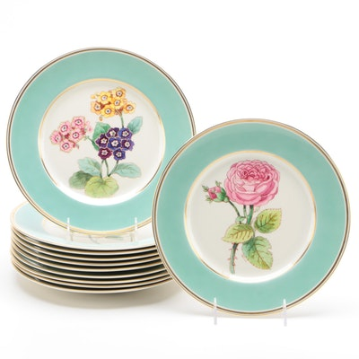 Pickard Porcelain Dinner Plates with Multimotif Flowers and Green Band