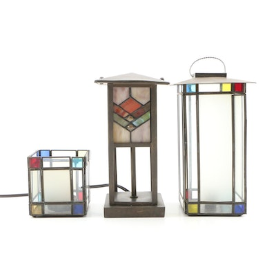 Stained Glass Candle Holders and Accent Lamp