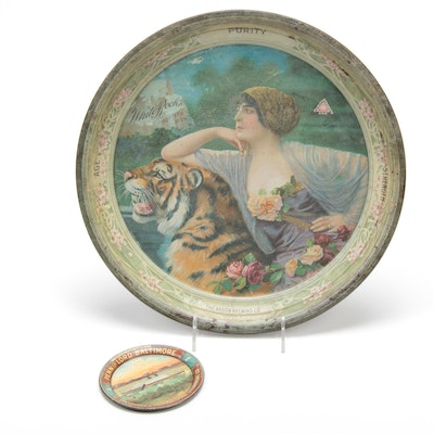 Tin Lithographic Advertising Trays, Early 20th Century
