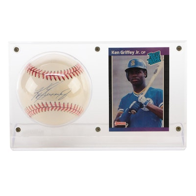 Ken Griffey Jr. Signed American League Baseball with a Rookie Card   Visual COA