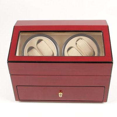 Quadruple Watch Winder and Case with High Gloss Cherry Finish