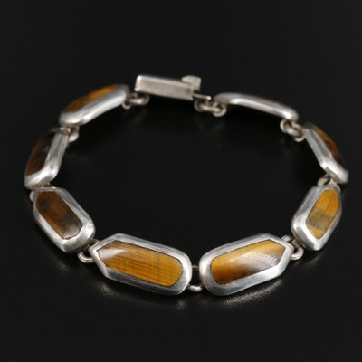 Mexican 950 Silver Tiger's-Eye Quartz Bracelet