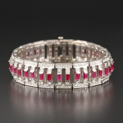 18K White Gold Ruby and 1.66 CTW Diamond Link Bracelet