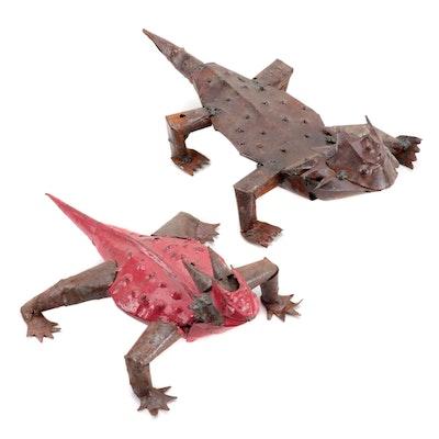 Mexican Folk Art Scrap Metal Horned Lizard Sculptures