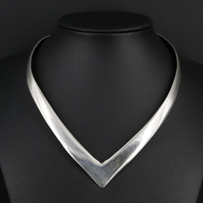 Mexican Sterling Silver V-Shaped Collar Necklace