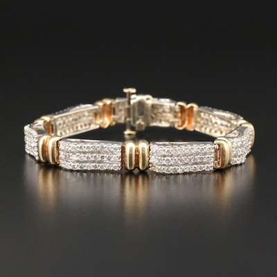 14K White and Yellow Gold 6.05 CTW Diamond Bracelet